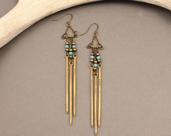 Ceremony brass fringe earrings with turquoise
