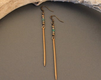 Deity brass spike earrings with turquoise and pyrite- minimalist native inspired earrings