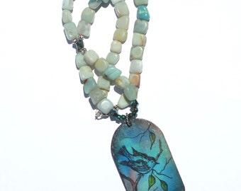Blue Green Bird Pendant Amazonite Stone Painted Necklace