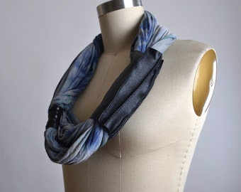 Tie Dyed Scarf - Necklace - OOAK Necklace Scarf - Leather and Rayon Scarf - Leather Scarf
