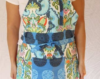 SALE! SALE! Handmade Full Apron Colorful & Fun - Blue and Green