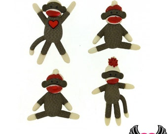 Jesse James Buttons 4pc sock monkey Buttons OR Turn them Into Flatback Decoden Cabochons