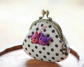 Cat coin purse, Metal frame coin purse, Gift