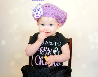Beret for girls - Purple Slouchy Beanie - baby hat