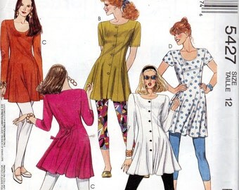 """1990s Easy Women's Tunic, Dress and Leggings Pattern - Size 12, Bust 34"""" - McCall's 5427 uncut"""