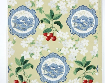 REMNANT of Vintage Wallpaper, Single 44 Inch Piece - Segmant of Kitchen Wallpaper with Red Cherries, White Flowers and Blue Plates on Yellow