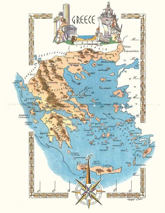 Greece Map Art / Vintage Map Print / Retro Map Decor / Old Map