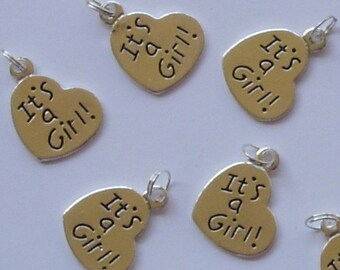 """Silver Metal """"It's a Girl"""" Baby Charms 