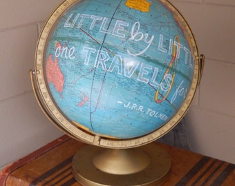 CUSTOM PAINTED Tolkein Quote Hand Painted Globe
