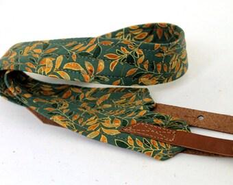 Sage Leaf Mandolin Strap with Leather Adjustable Ends