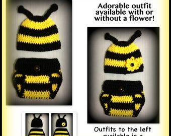 Baby bee outfit, baby bee clothes, bee diaper cover and hat set - 0-3 months, 3-6 months, preemie, newborn - photo prop