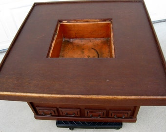 19th Century Japanese antique hibachi table brazier Keyaki wood and copper insert handcrafted authentic asian furniture