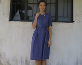 Japanese Vintage Dress/Small/50s 60s/Blue/Heart Print/Midi Length/Casual Day Dress