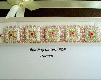 Elegant beaded  bracelet - Baroque. Beading Tutorial. Beading pattern PDF. Instant download.