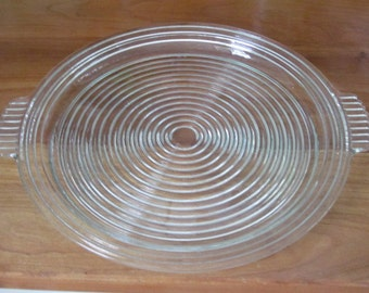 Vintage Crystal Manhattan Large Relish Tray Platter by Anchor Hocking