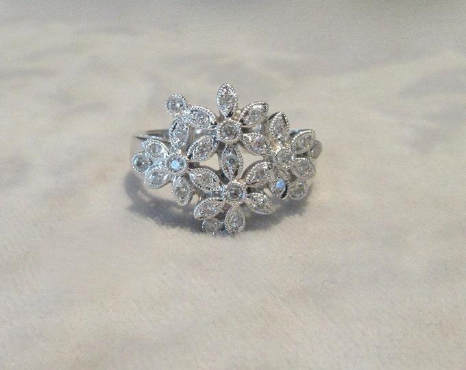 Diamond Flower Ring; Diamond Cocktail Ring; Diamond Ring; Ring for the Right Hand; Diamond Flower