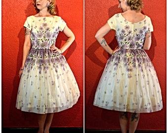 1950s 60s Chiffon Floral Mad Men Style Dress Medium