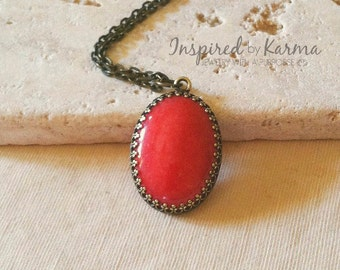 Coral Pendant Necklace, Brass Necklace, Oval Stone in Antiqued Bezel, Gifts for her, Gemstone Jewelry, Mountain Jade Jewelry, Boho Chic,
