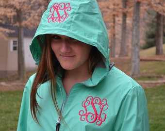 Monogram Rain Jacket, Charles River Rain Coat, Womens Rain Coat, Monogram Full Zip Charles River Rain Jacket, Monogram Sorority Rain Jackets