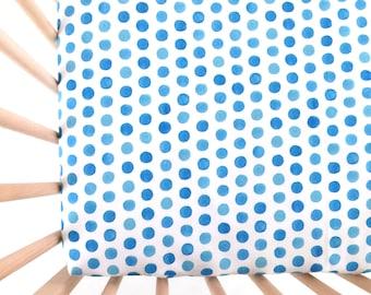 Crib Sheet Watercolor Cobalt Dots. Fitted Crib Sheet. Baby Bedding. Crib Bedding. Crib Sheets. Blue Crib Sheet.