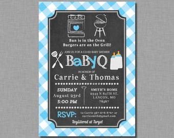 Boy Baby Q invitations baby shower blue coed bbq plaid Noah BB06 Digital or Printed