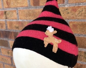 6-12 Month Upcycled Cashmere Gnome Baby Hat in Black and Pink Stripe with Deer (PB-d.1)