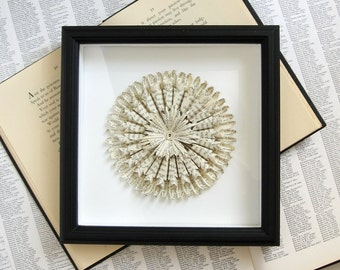 Folded Book Paper Sculpture - Paper Medallion No2 - Black & White Art Shadow Box Frame - Paper Anniversary Wall Sculpture - 8 x 8 Square Art