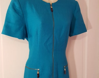 KASPER A.S.L. PETITE DRESS // Ocean Blue Zipper Zip Up Dress Shift Sheath Size 10P Classic Simple 90's