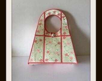 Peach Handbag,Peach Purse,Peach Cream Satin Purse, Embroidered Hibiscus Purse, Bags and Purses