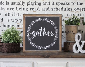 Wood Sign, Wood Wall Art, Gather Sign, Family Room Sign, Inspirational Sign, Framed Wall Art, Hand Painted Wood Sign, Rustic Wood Sign
