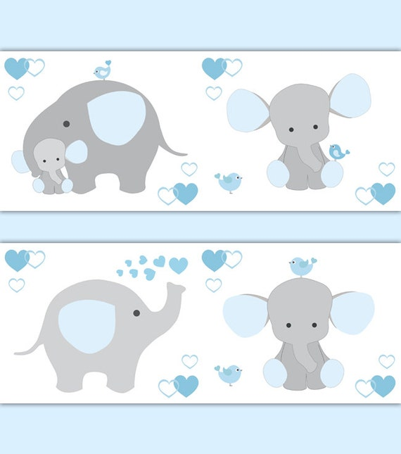 BLAU grauer Elefant Kinderzimmer Baby Boy Wallpaper Grenze