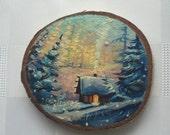 Cute fridge magnet, Refrigerator magnet, Kitchen decor, Kitchen magnet, Handmade magnet, Hand-Painted Winter Cabin Magnet on Wood