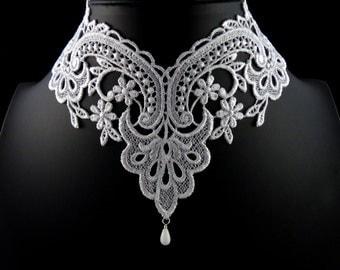 White Lace Choker Necklace - Romantic Victorian Collar - Elegant, Feminine, Bridal, Floral, Lingerie, Handmade