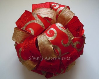 Beautiful Red Gold Christmas Tree Bow Glittering Red Gold Filigree Christmas Tree Topper Bow Red Gold Xlarge Christmas Bow  Gifts Topper Bow