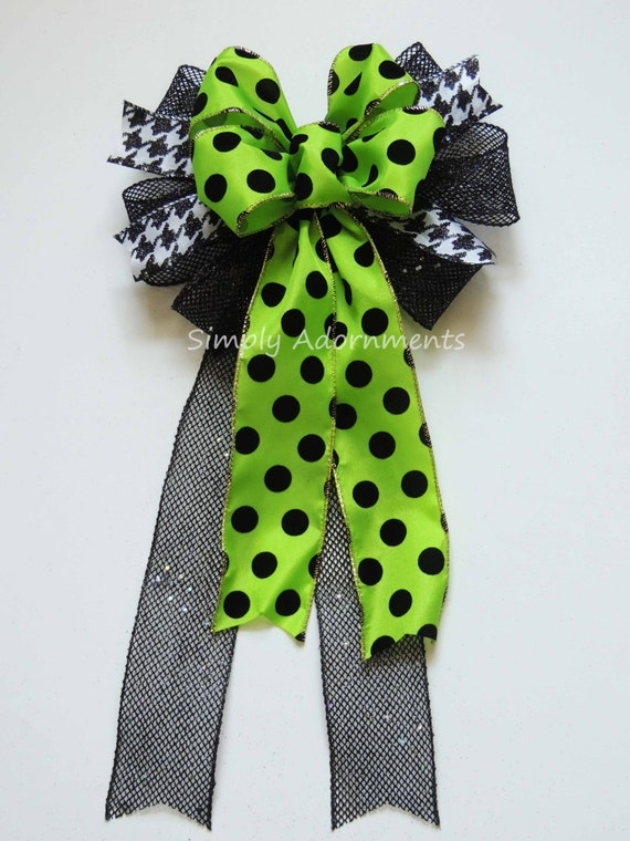 Green Black Halloween Wreath bow Black Green Halloween Polka Dots Wreath Bow Black Net Houndstooth Halloween Bow Halloween Door Hanger Bow