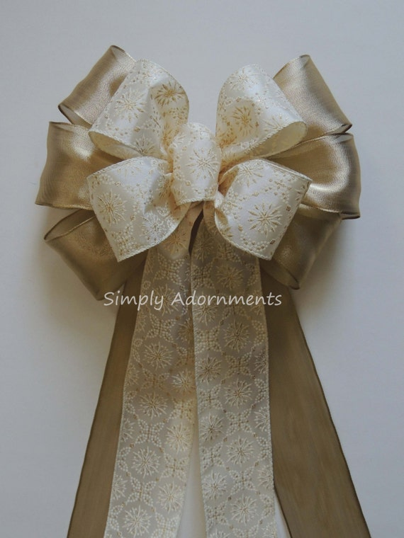 Ivory Gold Winter Wedding Pew Bow Starburst Wreath Bow Ivory Gold Snowflakes Christmas Decoration Ivory Gold Door Swag Bow Door Hanger bow