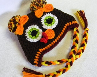 Crochet Fall Thanksgiving Turkey Hat - Style 002 - Made To Order