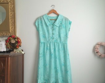 1950s-60s Turquoise Floral Dress / Vintage Turquoise Dress