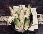 Food Photography, Corn Photo, Black and White Photography, Still Life, Rustic, Kitchen Wall Decor, Fine Art Photography, Vegetable Photo