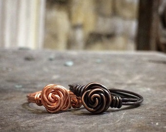 Solid Copper Wire Wrap Rose Ring – Shiny or Patina Copper – Made in the USA