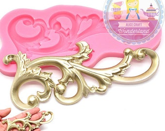 Large Fancy Flourish Leafy Scrollwork Scroll Silicone Mold 451L Cake decoration topping Fondant Chocolate icing Melts Chocolate