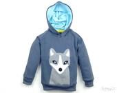 kids hoodie, white fox hoodie, organic hoodie, toddler boy hoodie, toddler boy clothes, 100% organic cotton, applique arctic fox
