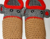 Mens Adult Homespun Sock Monkey Slippers - Warm Brown