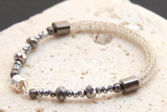 Sterling Jewelry - Sterling Silver Bracelet - Wedding Bracelet - Cosplay Bracelet for Bridesmaid - Viking Knitting - Silver Woven Bracelet