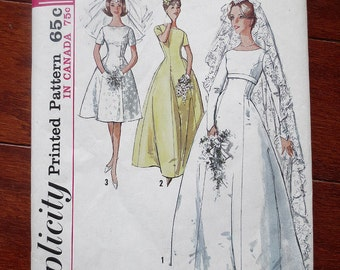 Simplicity 5496 Commerical Sewing Pattern, 1964 Simplicity Wedding Dress Pattern, 1960s Simplicity Dress Sewing Pattern