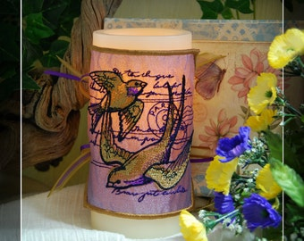 Beautiful Parisian Swallows Embroidered Candle Wrap For LED Flameless Pillar Candles.
