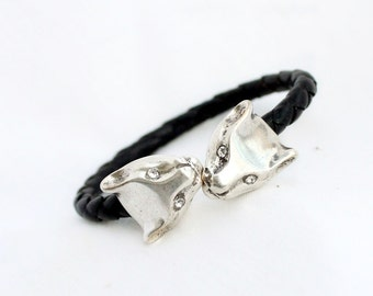 Puma leather Bracelet, braided leather bracelet, Animal jewelry, Gift for Her, Gift for Him