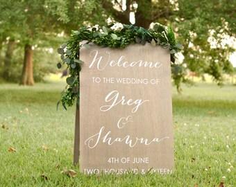 Wedding Welcome Sign, Welcome Wedding Sign, Wooden Welcome Sign, Large Welcome Sign, Bride and Groom Name Sign, Wedding Name Sign