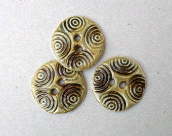 Spirals Ceramic Buttons , Olive  XL Sewing Buttons , Fashion Accessories
