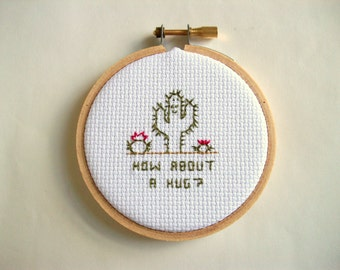 """Cactus hug - Cross Stitch, mini completed embroidery in 3"""" hoop, how about a hug, finished cross stitch"""